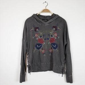 Lucky Brand • Gray LA Floral Embroidered hoodie
